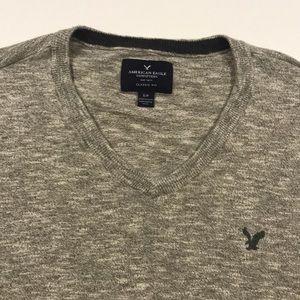 AMERICAN EAGLE Gray Lightweight V Neck Sweater